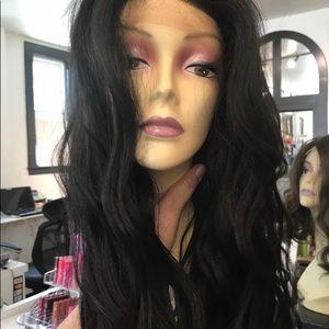 Long black wavy 13x6 Freepart human hair Blende